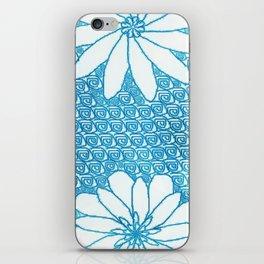 Blue flower design iPhone Skin
