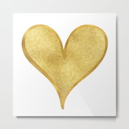 Gold Glam Glitzy Heart Metal Print