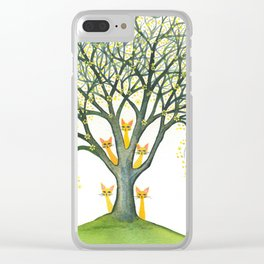 Odessa Whimsical Cats in Tree Clear iPhone Case