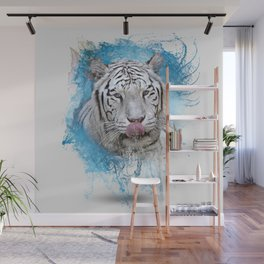 Sloppy White Tiger Lick Wall Mural