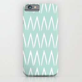 Festive, Geometric, Boho, Line Art Pattern, Mint Green iPhone Case