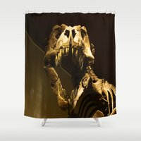 t rex Shower Curtains featuring T-Rex by Vito Fabrizio Brugnola
