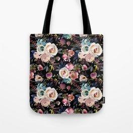 Blush Pink Peonies with Black Tote Bag