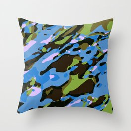 green blue and brown camouflage graffiti painting abstract background Throw Pillow