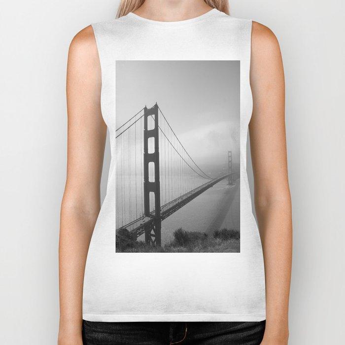 The Golden Gate Bridge In A Mist Biker Tank