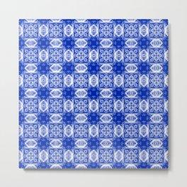 Sapphire Blue Geometric Floral Metal Print