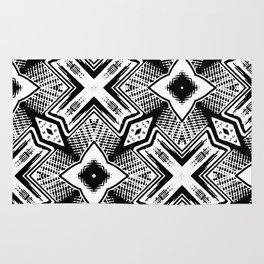 Black and White - Woodcut Etching Cross Geometric Rug