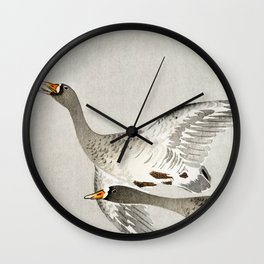 Geese mid flight - Vintage Japanese Woodblock Print Wall Clock
