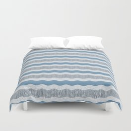 Wavy River in Blue and Gray 1 Duvet Cover