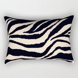 Zebra Animal Print Black and off White Pattern Rectangular Pillow