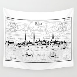 Riga 1544 (black on white) Wall Tapestry