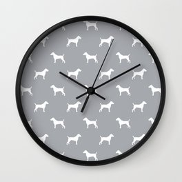 Jack Russell Terrier grey and white minimal dog pattern dog silhouette pattern Wall Clock