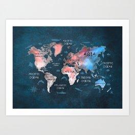world map 45 Art Print