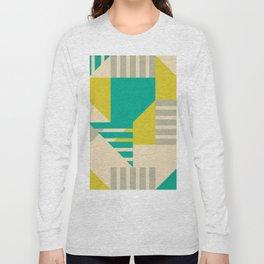Geometric Abstract - Greens Long Sleeve T-shirt