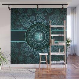 Monogrammed Aridi L Teal Wall Mural