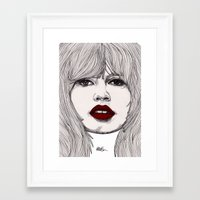 godard Framed Art Prints featuring Brigitte with Red Lips by Paul Nelson-Esch Art