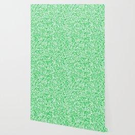 Tiny Spots - White and Dark Pastel Green Wallpaper