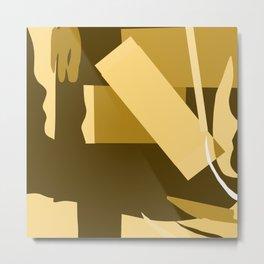 Matisse Inspired Gold Ochre Collage Metal Print