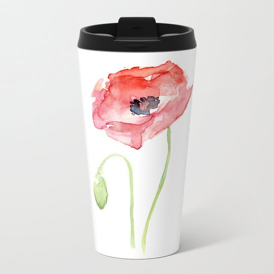 Red Poppy Watercolor Flower Floral Abstract Metal Travel Mug