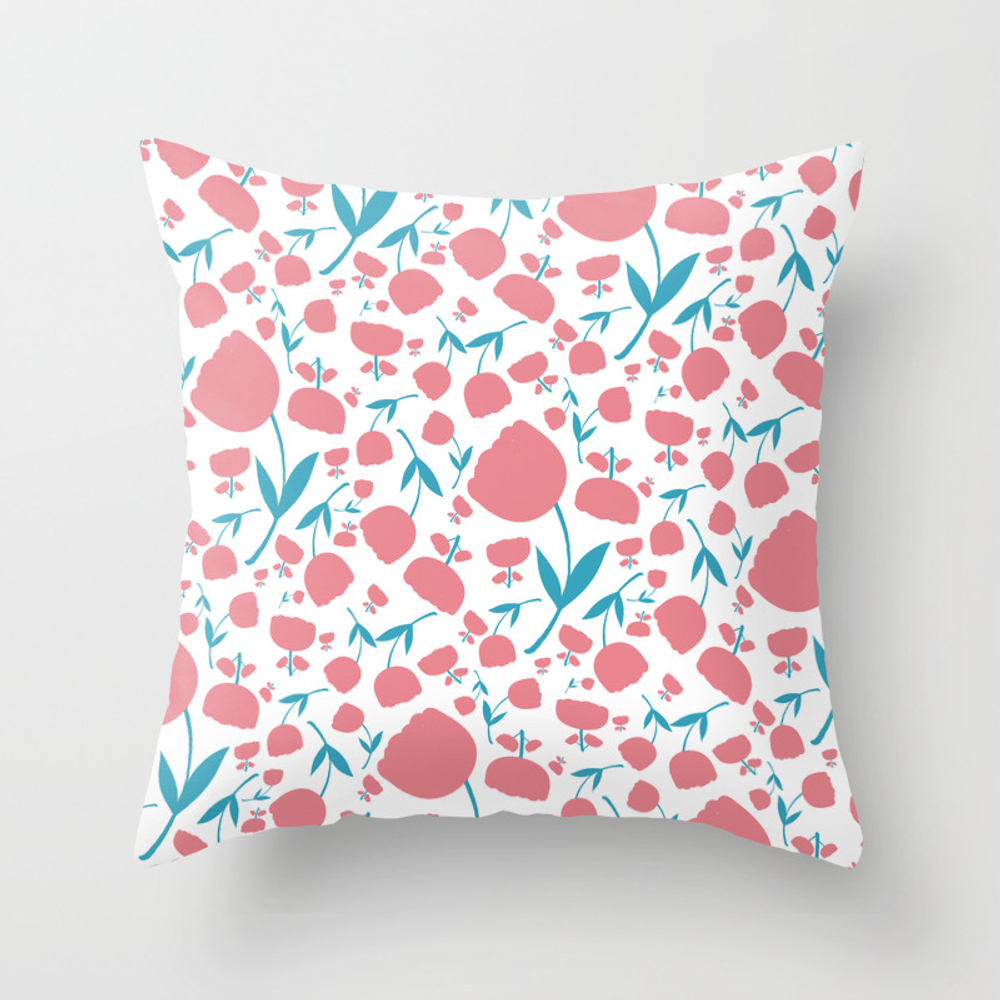 Cup Flowers Throw Pillow by Bonfimarts PLW8306964