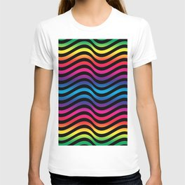 Wiggly Vibrant Multicolour Lines T-shirt