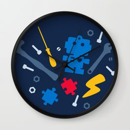 Young Engineer - Blue, Red and Yellow Wall Clock