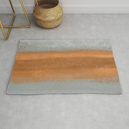 Rust Copper & Gray Concrete _Abstract Texture Brush Strokes Block Rug