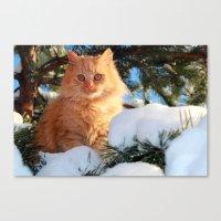 garfield Canvas Prints featuring Winter Garfield  by Lucie