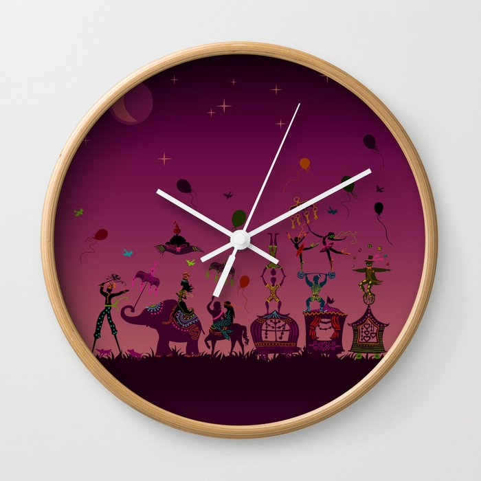 colorful circus carnival traveling in one row at night Wall Clock