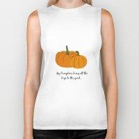 pumpkin Biker Tanks featuring Pumpkin by Laura Maria Designs