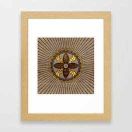 Seal of Shamash - Wood burned with gold accents Framed Art Print