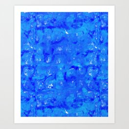 Tie Dye Shibori Water Cubes in Ocean Blue Art Print
