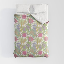 Seven Species Botanical Fruit and Grain with Pastel Colors Comforters