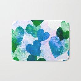 Fab Green & Blue Grungy Hearts Design Bath Mat