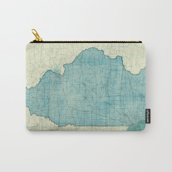 Illinois State Map Blue Vintage Carry-All Pouch