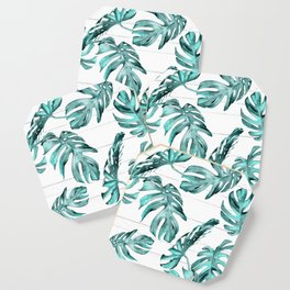 Turquoise Palm Leaves on White Wood Coaster