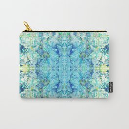 Aqua & Mint Symmetrical Watercolor Abstract Carry-All Pouch