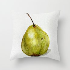 Pear - Watercolor Throw Pillow