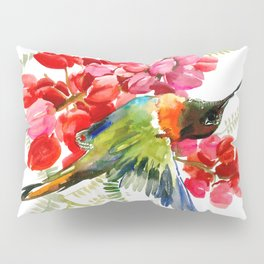 Collared Inca Hummingbird and Coral Pink Flowers Pillow Sham