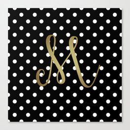 "Retro Black and White Polka Dot with Gold ""M"" Monogram Canvas Print"