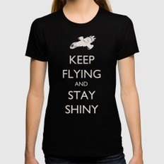 Keep Flying and Stay Shiny Black Womens Fitted Tee MEDIUM