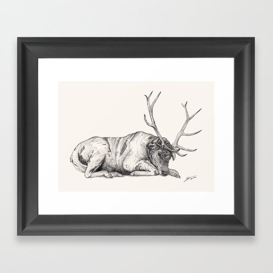 Stag // Graphite Framed Art Print