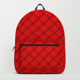 Red Devil and Black Halloween Tartan Check Plaid Backpack