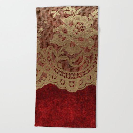 Red Lace Velvet 01 Beach Towel