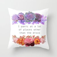 panic at the disco Throw Pillows featuring Panic! by Midnight Mania