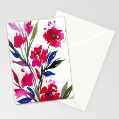POCKETFUL OF POSIES 1, Colorful Summer Watercolor Floral Painting Abstract Red Blue Pink Flowers Art Stationery Cards