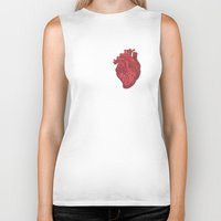 anatomical heart Biker Tanks featuring Anatomical Love by Orange Blood Gallery
