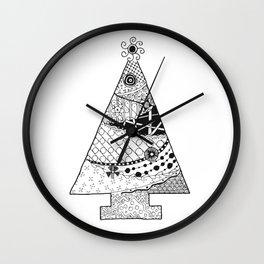 Doodle Christmas Tree Wall Clock
