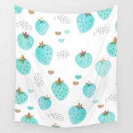 Strawberry summer love tropical hawaiian fruit Wall Tapestry