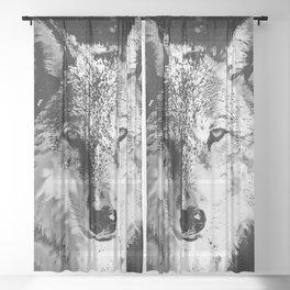 wolf splatter watercolor black white Sheer Curtain
